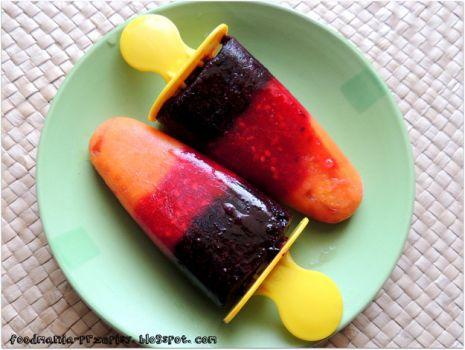 Przepis: Lody jagoda-porzeczka-morela