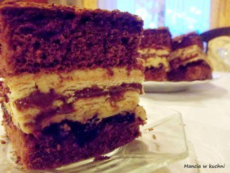 Przepis: Ciasto krówkowo - kakaowe