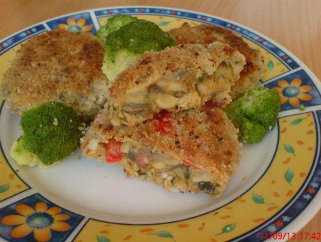 Przepis: Kotlety pieczarkowo-kalafiorowe z serem żółtym