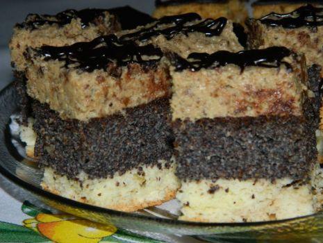 Przepis: Ciasto makowo-orzechowe