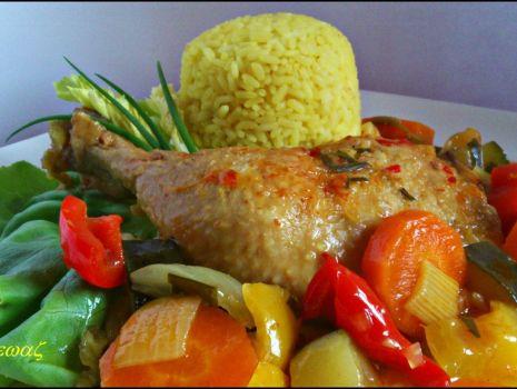 Przepis: Duszone w warzywach udka na ostro