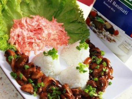 Przepis: Ryż ,sos i pieczarki :)