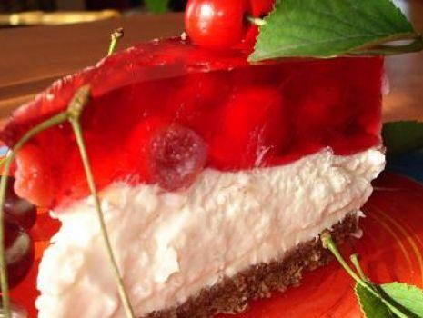 Przepis: Ciasto na spodzie z Nutelli z Galaretką wiśniową Bez Pieczenia!