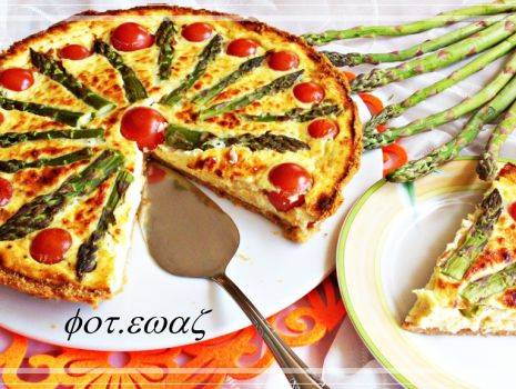 Przepis: Tarta szparagowo-pomidorowa