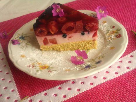 Przepis: Ciasto z rabarbarem i owocami