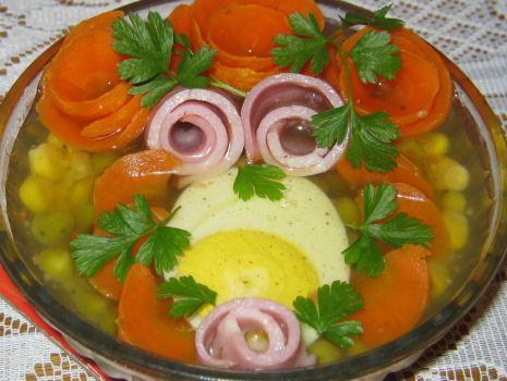 Przepis: Jajko z warzywami w galarecie