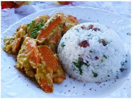 """Przepis: """" Marchewkowe curry z kolorowym ryżem """""""