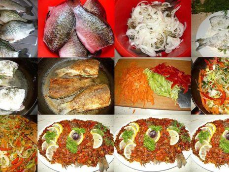Przepis: Karasie pieczone z warzywami z odrobiną  czosnku..