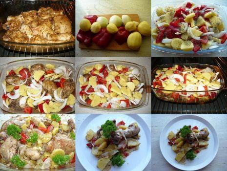 Przepis: Mięso drobiowe duszone z cebula, ziemniakami i papryką