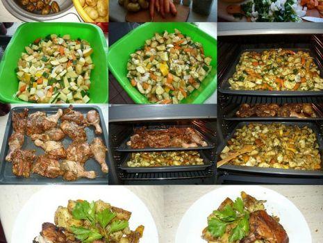 Przepis: Ziemniaki zapiekane z warzywami i kurczakiem..
