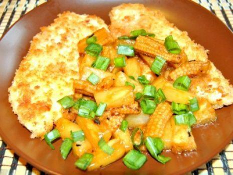 Przepis: Kurczak w Panko z Ananasem i Kukurydzą