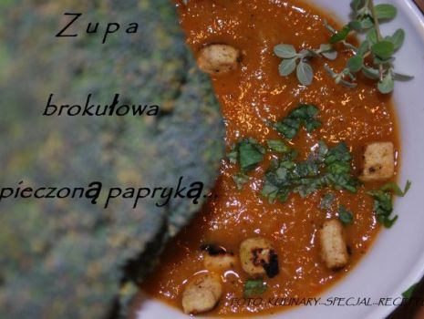 Przepis: Zupa brokułowa z pieczoną papryką …
