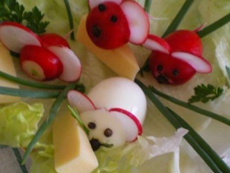Przepis: Myszki z jajek i rzodkiewki