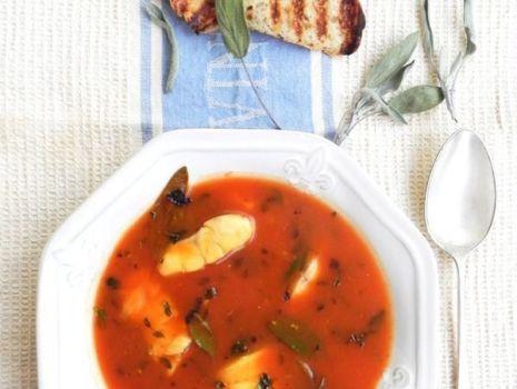 Przepis: pomidorowa bardzo ziołowa z dorszem atlantyckim - rybna