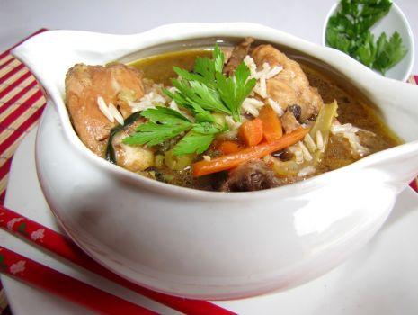 Przepis: Zupka chińska z grzybami i ryżem