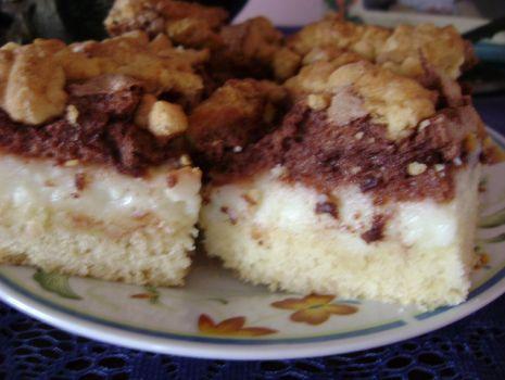 Przepis: ciasto z budyniem i czekoladową bezą
