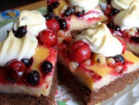 Przepis: Ciasto z owocami i budyniem