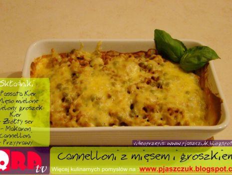 Przepis: Cannelloni z mięsem mielonym i zielonym groszkiem