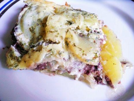 Przepis: Zapiekanka z kaszanką, ziemniakami i kiszona kapustą wg jambalayi