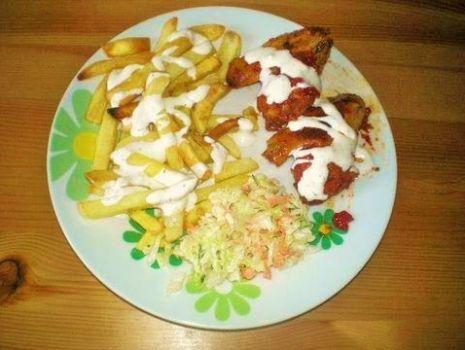 Przepis: Frytki+ skrzydełka+sos czosnkowy