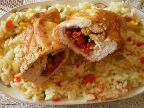 Przepis: Paprykowe roladki z kurczaka :