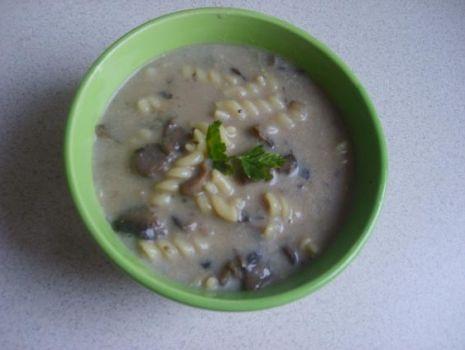 Przepis: Zupa -krem z pieczarek z makaronem