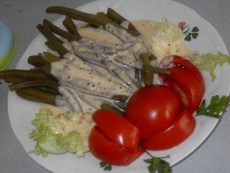 Przepis: Zielona fasolka szparagowa w sosie musztardowym