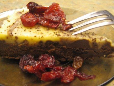 Przepis: podwójnie czekoladowe ciasto z żurawiną
