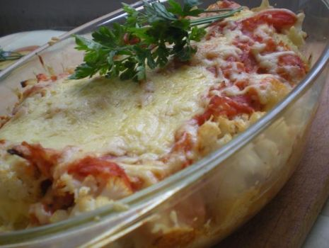 Przepis: Zapiekanka kalafiorowo - pomidorowa