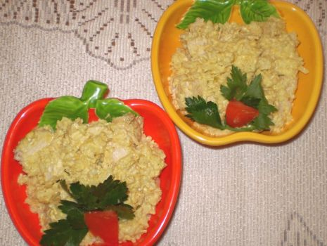 Przepis: Jabłkowe curry z kurczaka z ryżem ( sałatka ) :