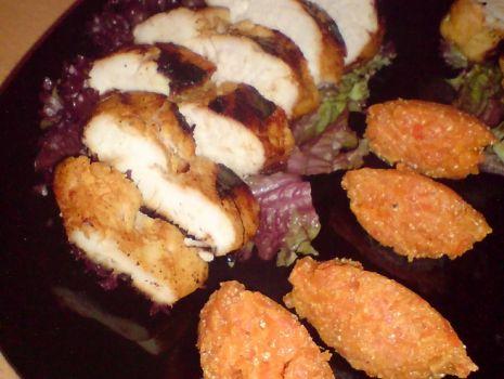 Przepis: pieczona pierś kurczaka z pure marchwiowym