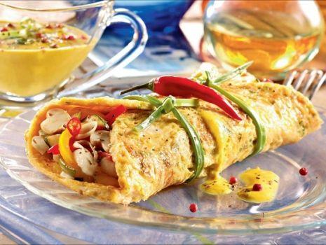 Przepis: Naleśniki curry z pieczarkami i warzywami