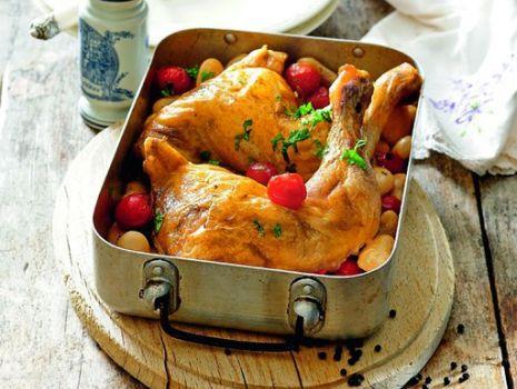 Przepis: Kurczak pieczony z białą fasolą