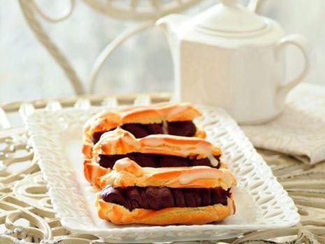 Przepis: Eklery kawowe z polewą pomarańczową