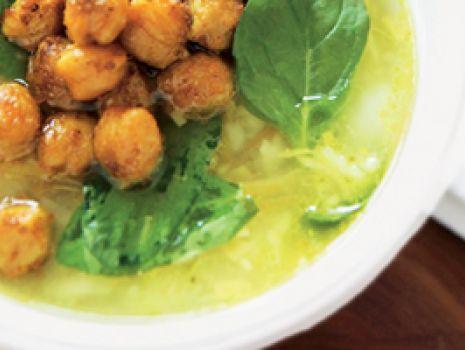 Przepis: Zupa z ryżem i smażoną ciecierzycą