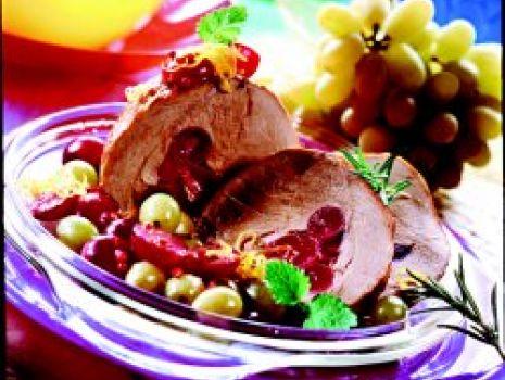 Przepis: Szynka pieczona z winogronami