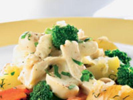 Przepis: Warzywa z sosem pieczarkowo-drobiowym