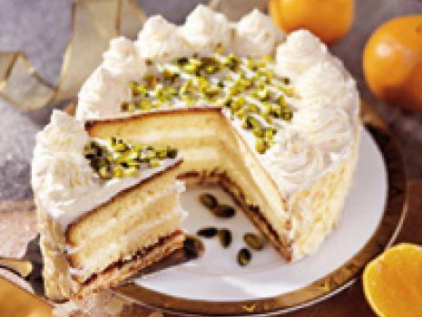 Przepis: Tort pomarańczowy z pistacjami