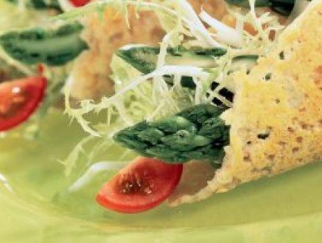 Przepis: Szparagi w koszyczkach parmezanu