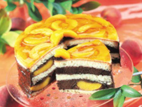 Przepis: Czekoladowy tort z brzoskwiniami