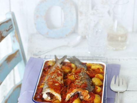 Przepis: Dorsz pieczony z chorizo i ziemniakami