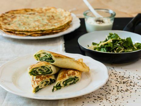 Przepis: naleśniki z żółtym serem i szpinakiem