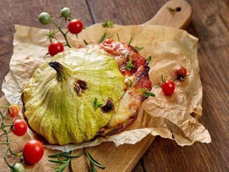 Przepis: Patisony faszerowane pomidorami i serem morskim