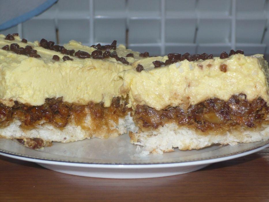 ciasto kokosowo-orzechowe z pyszną masą