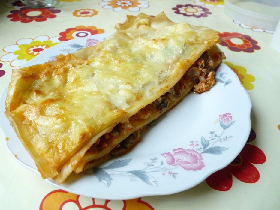 Lasagne z mięsem i szpinakiem pod beszamelowym sosem