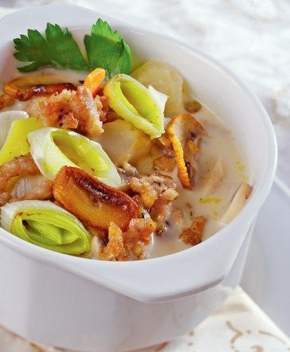 Wykwintna zupa z porów z mięsem