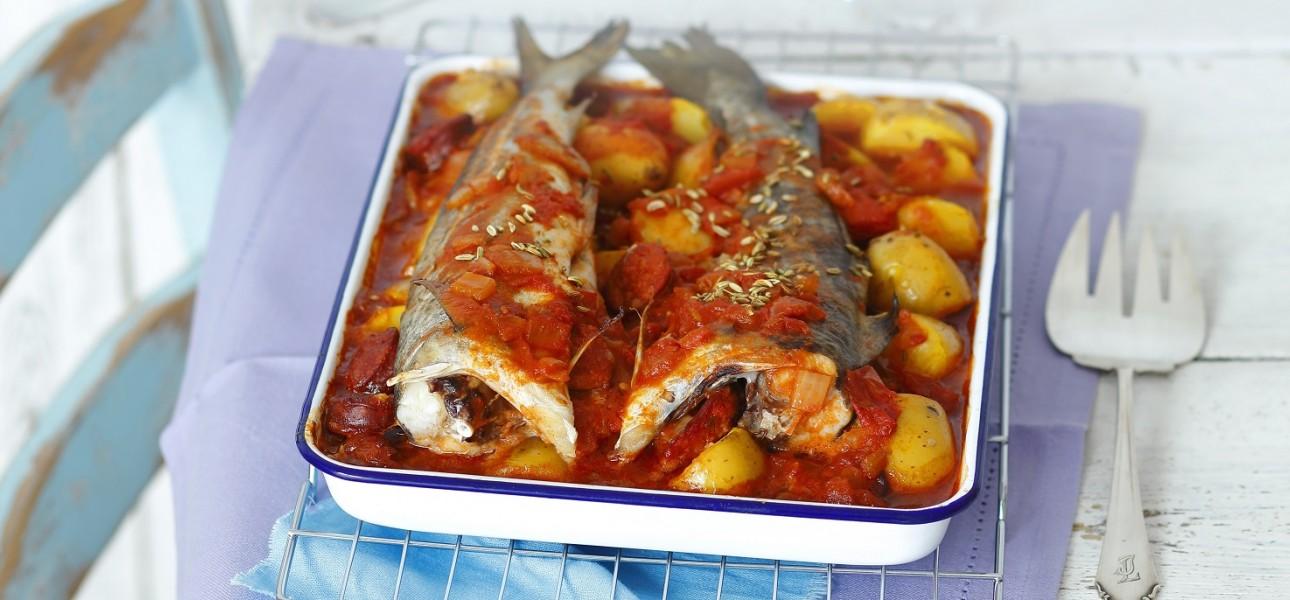 Dorsz pieczony z chorizo i ziemniakami